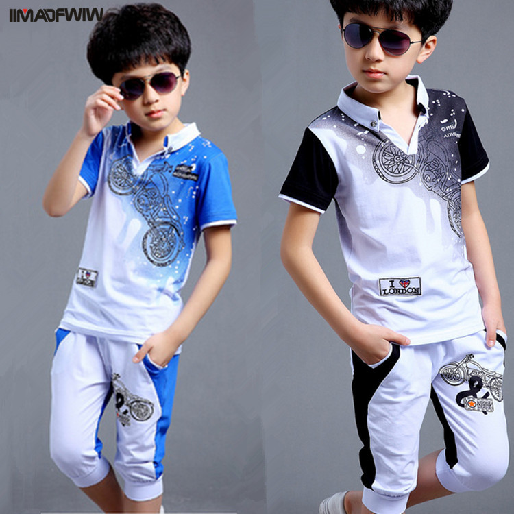 Boys Fashion Casual Sport Suit Clothing Set Motorcycle Print Short Sleeve Knitted Children`s Set Boys Clothes 2017 Summer New