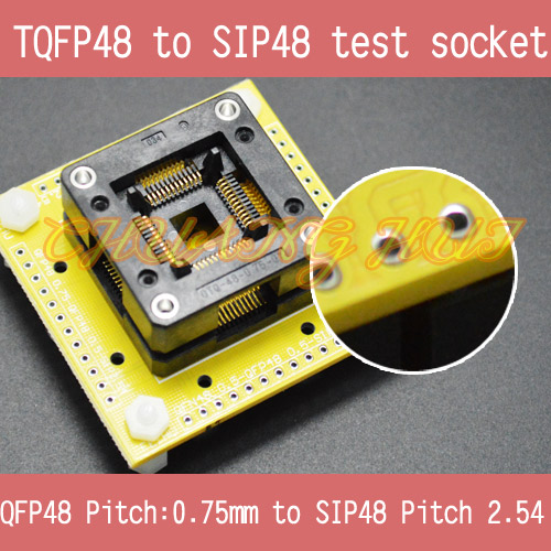 QFP48 to SIP48 test socke TQFP48/FPQ48/QFP48/LQFP48 0.75mm to SIP48 2.54mm ic socket tms320f28335 tms320f28335ptpq lqfp 176