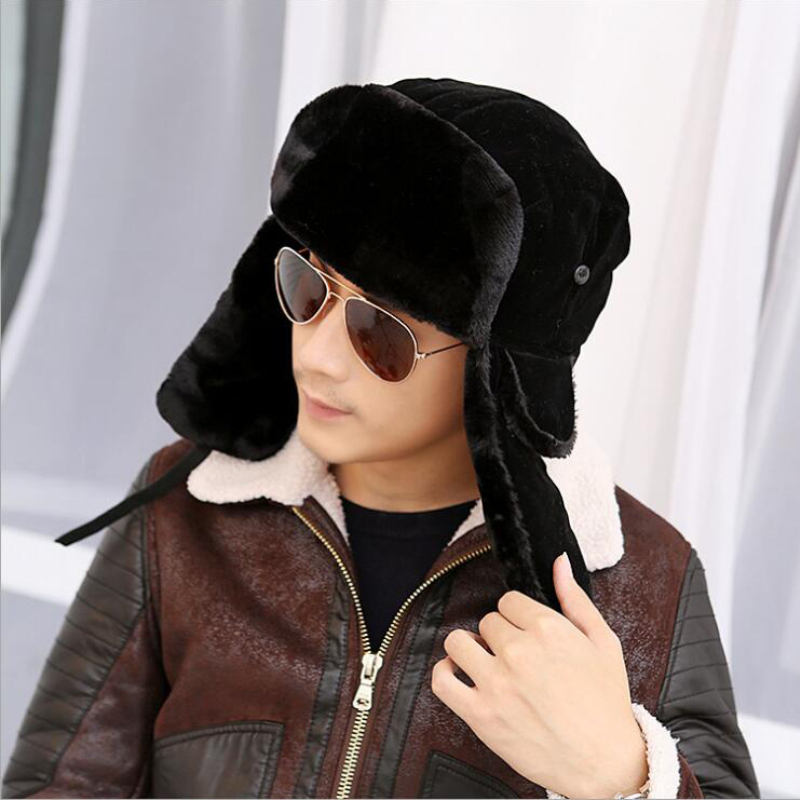 HT535 Fashion Hot Winter Bombers Fancy Russian Fur Hat för män Varma Ryska Ushanka Mössor Solid Color Trapper Hats Wholesale