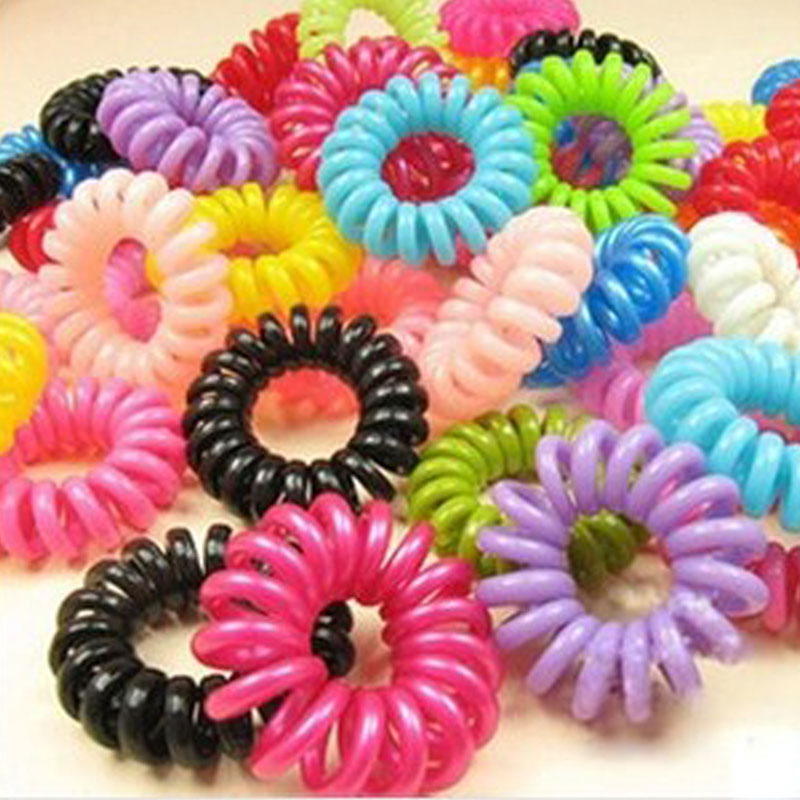 10PCS Plastic Hairbands Colorful Hair Rope Spiral Shape Hair Ties Telephone Wire Cord Invisi Traceless Gum Scrunchy Children's 100pcs elastic hair bands rope scrunchie head colorful rope spiral shape hair ties gum hair styling braiding tools accessories