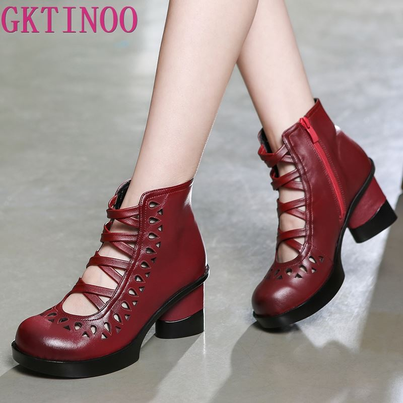 GKTINOO 2019 New Cross tied Fashion Sandals Women Shoes Hollow Summer Sandals Genuine Leather Shoes High