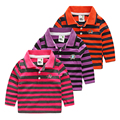 Boys polo shirt long sleeve shirt child stripe shirts baby boy poloshirt 100% cotton casual top spring and autumn