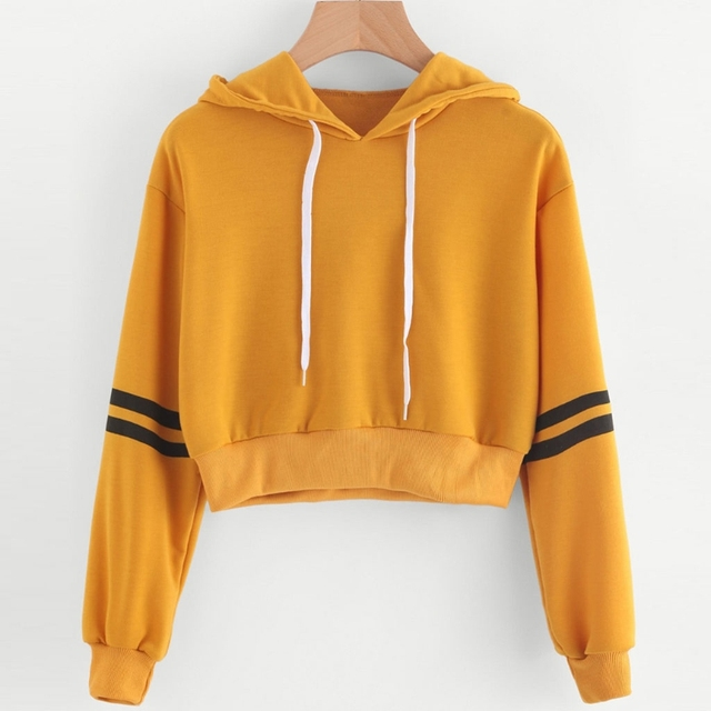 ddffd5682f83a KLV Fashion Chic Women Girls Long Sleeve Crop Top Hoodies Sweatshirt  Striped Casual Pullover Soft Yellow