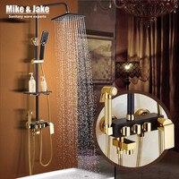 浴室の高級ブラックゴールデンシャワーセットでビデシャワーで棚ゴールドシャワーセット浴室のシャワーの蛇口浴槽の蛇口セッ