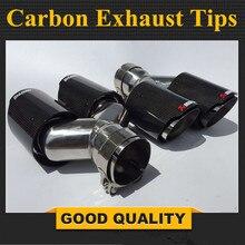 Une paire Y style Brillant + acier inoxydable carbone universel exhast conseils, Double Auto akrapovic d'échappement pointe layringoscope fin tuyaux