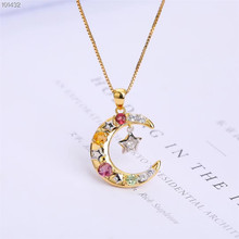 gemstone jewelry wholesale trendy 925 sterling silver natural colorful tourmaline charm necklace pendant for female