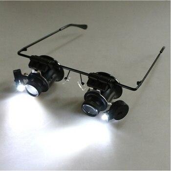20x lupa con luces led lupa para reparación de relojes lupa binocular herramienta de reparación de joyas