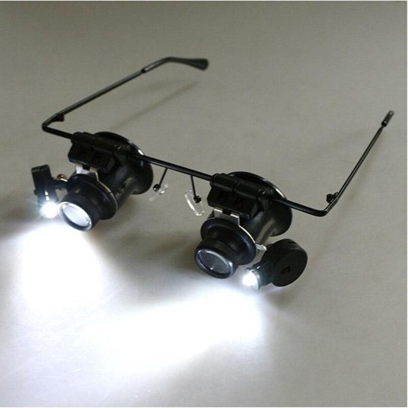 20x Loupe avec led lumières lunettes Loupe pour montre réparation binoculaire Loupe bijoux réparation outil herramientas