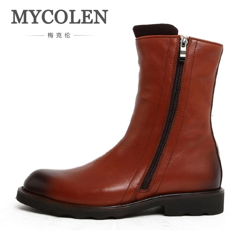 MYCOLEN New Genuine Leather Shoes Men Ankle Boots Autumn Winter Round Toe Black Motorcycle Boots Top Quality Zipper Men Shoes autumn warm plush winter shoes men zipper 100% genuine leather boots men thick bottom waterproof black high top ankle men boots