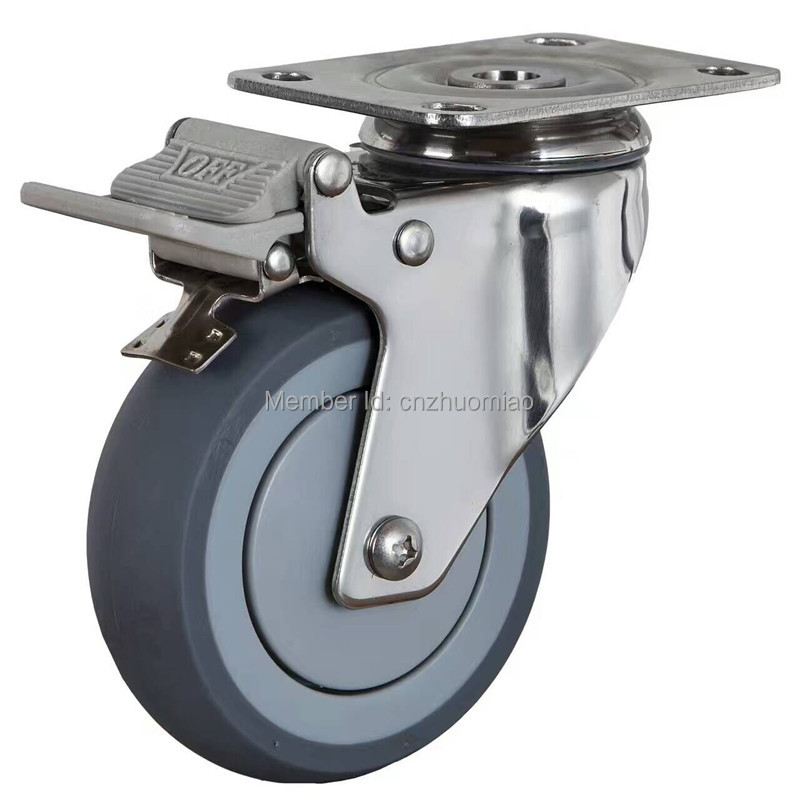 3 Inch Medium Casters 304 Stainless Steel Nylon Industrial Caster with Brake factory direct 3 inch medium claret biaxially caster wheel casters furniture round air box