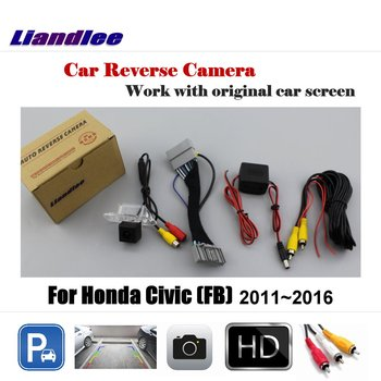 Liandlee For Honda Civic (FB) 2011~2016 / Car Rear View Back Backup Camera Rearview Reverse Reversing Parking Camera for honda civic fb exi 2011 2016 car back up reverse camera car rear view camera sets rca