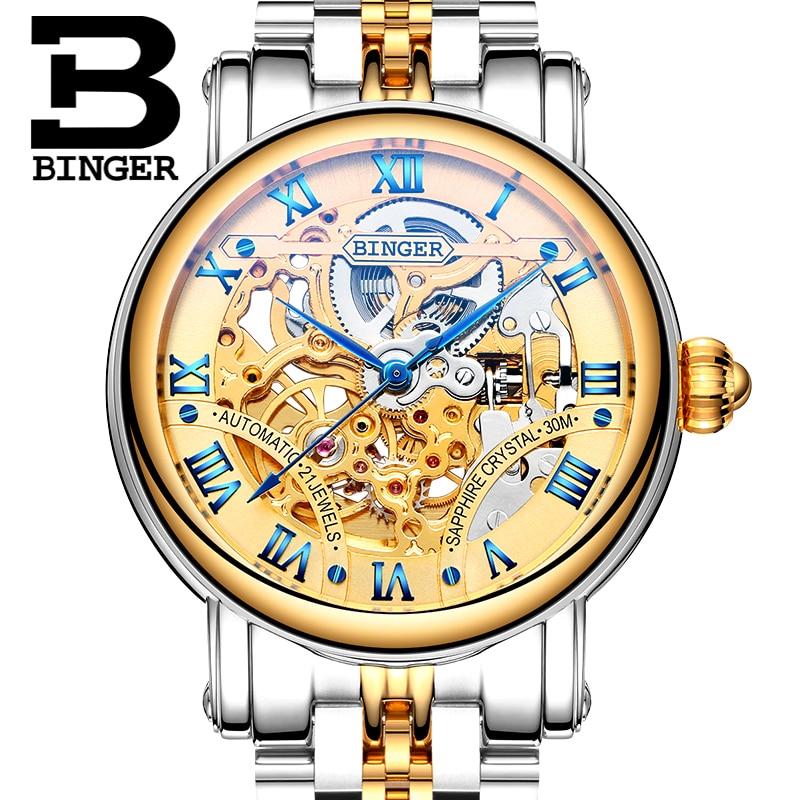 Original BINGER Men Mechanical Watches Women Luxury Brand Full Steel Waterproof 30m Business Automatic Wristwatches For