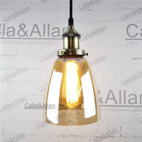 Retro Vintage Pendant Light D140mm Amber Glass Lampshade Loft Pendant Lamp E27 110V 220V for Dinning Room Home Decoration
