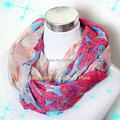 New Winter Women Korean Colorful Flower Rose Ring Scarves Peony Beautiful Infinity Chevron Loop Scarf Female Stripe Loop Shawl