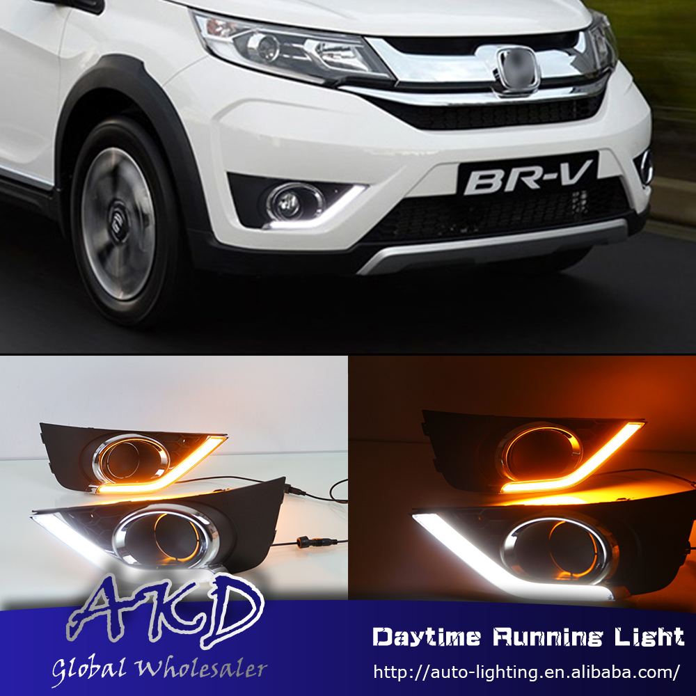 AKD Car Styling for Honda BRV BR-V 2016 LED DRL for New BRV BR-V Front Led Drl Running Light Fog Light Parking Accessories akd car styling for kia sportage r drl 2014 new sportager led drl korea design led running light fog light parking accessories