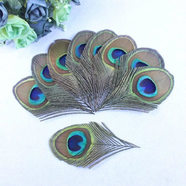 2015 true peacock feather trimmed peacock eye sewing wedding christmas decorations 8 12cm 50