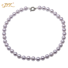 JYX 2019 charming necklace Lavender 10mm Seashell Pearl Round Beads Necklace high quality 18 elegant jewelry for women