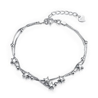 SVH057 2016 New 100 Genuine Pure 925 Sterling Silver Stars Bracelets Fashion Bracelet For Women Party
