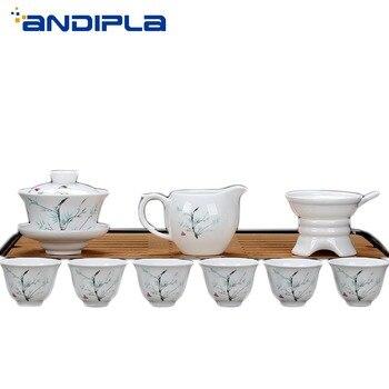 9Pcs/Lot New Style Kung Fu Teaware Set Porcelain Tea Set 6cup 1 Gaiwan 1 Chahai 1 Tea Strainer Home Tea Ceremony Drinkware