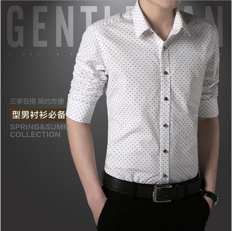 1e8b90d6f17e Mens Dress Shirts Polka Dot Designer Shirt Social Slim Fit Male Long Sleeve  Brand Button Up Shirt Social camisa masculina-in Dress Shirts from Men's ...