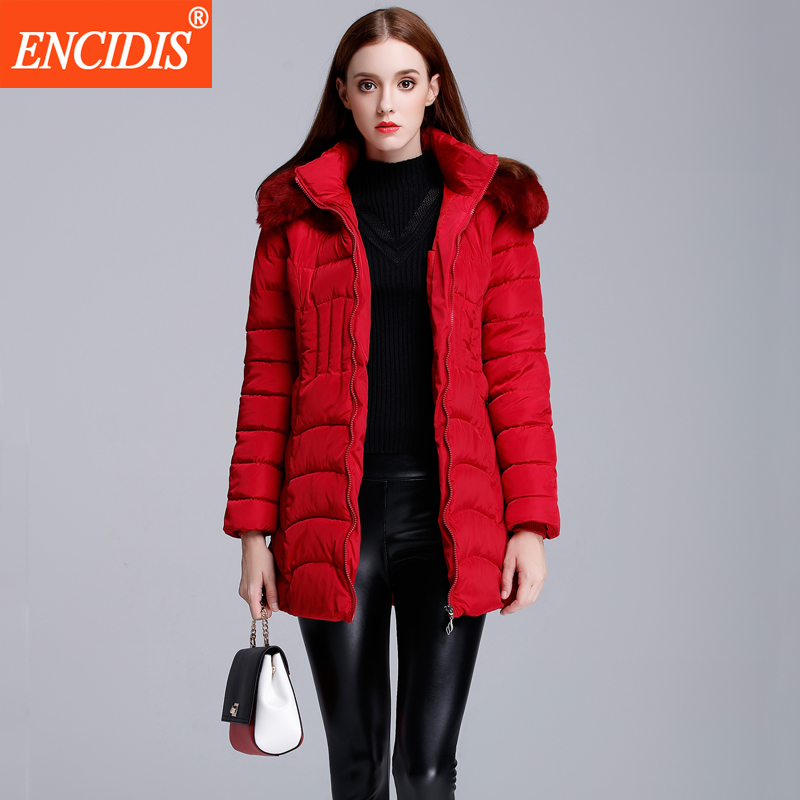 Plus size Women coat Jackets Winter 2016 New Fashion Lady Fur collar Long coats Female Cotton