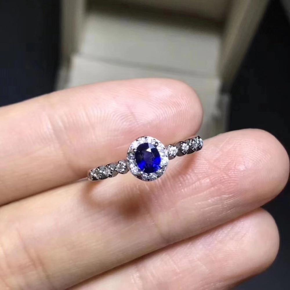 Natural sapphire Ring 925 sterling silver inlaid Natural sapphire ring 4*5mm High quality For Men or Woman цены онлайн