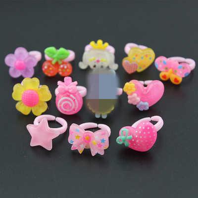 Aomu 10 Pcs Bayi Perempuan Campuran Gaya Hewan Sayuran dan Buah Permen Yang Indah Hewan Warna Bunga Kartun Anak-anak/Anak cincin