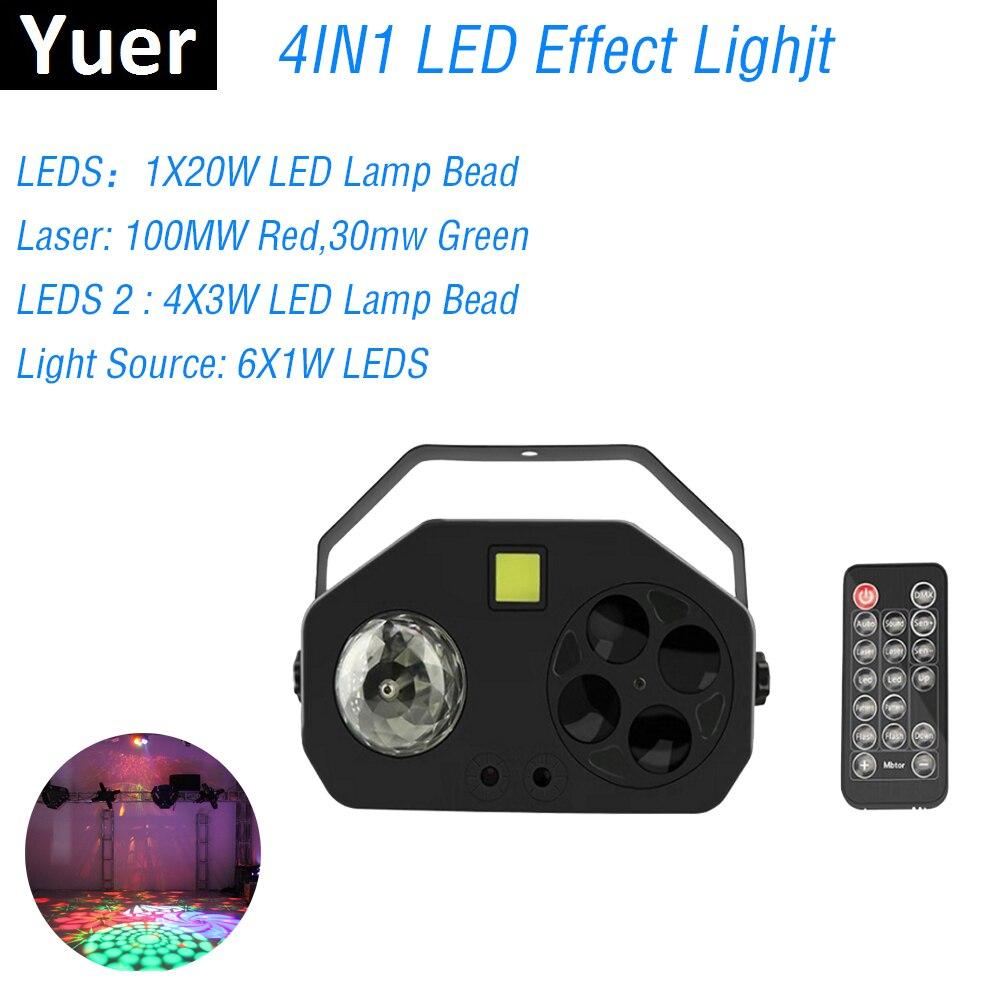 Boule magique Laser motif stroboscope 4IN1 LED lumière de scène DMX 512 son activé rotatif Disco boule fête lumières LED lumière stroboscopique