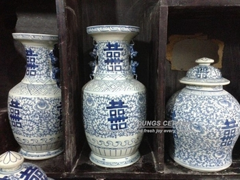 Large Antique Chinese Hand Painted Blue And White Ceramic Porcelain Vases With Double Happiness Design