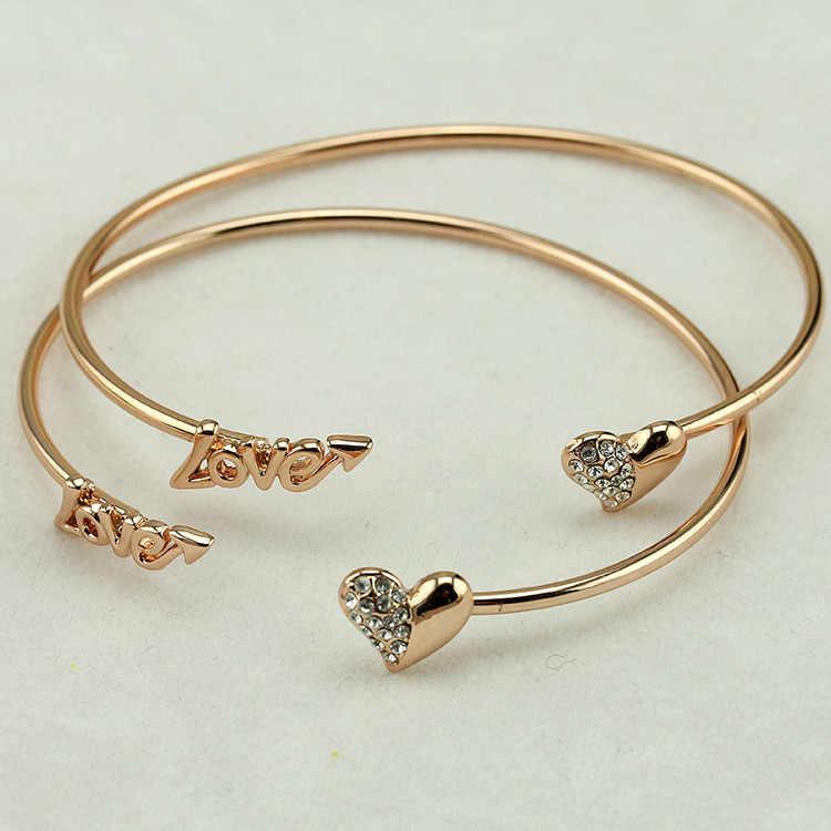 2018 ใหม่ Vintage เงินทองเปิดกำไลข้อมือรักสร้อยข้อมือคริสตัล Heart Charm Cubic Zirconia Rhinestone เครื่องประดับ