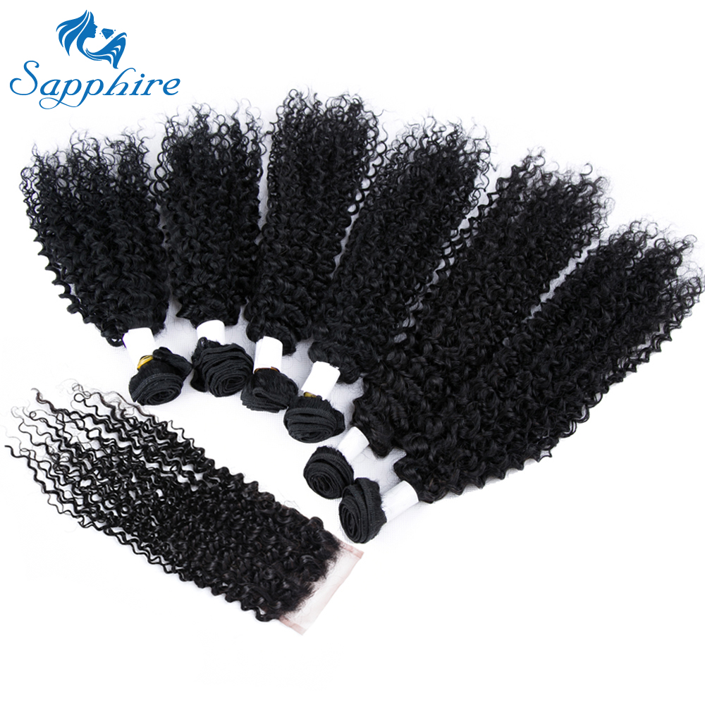 Sapphire Brazilian Remy Hair Kinky Curly Wave With 4*4