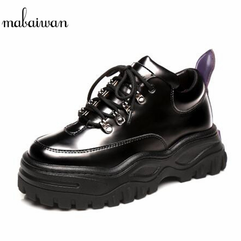 Mabaiwan 2019 New Casual Women Sneakers Genuine Leather Platform Shoes Women's Lace Up Female Creepers Flats Tenis Espadrilles new england fans printed canvas shoes color lace up women casual flats custom patriotic letter luminous tenis shoes espadrilles