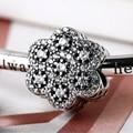2016 Nova 925 Sterling Silver Beads Fit Pulseiras Cristal Floral A Céu Aberto Char Para Os Amantes Das Mulheres Presente Estilo Retro Decorações