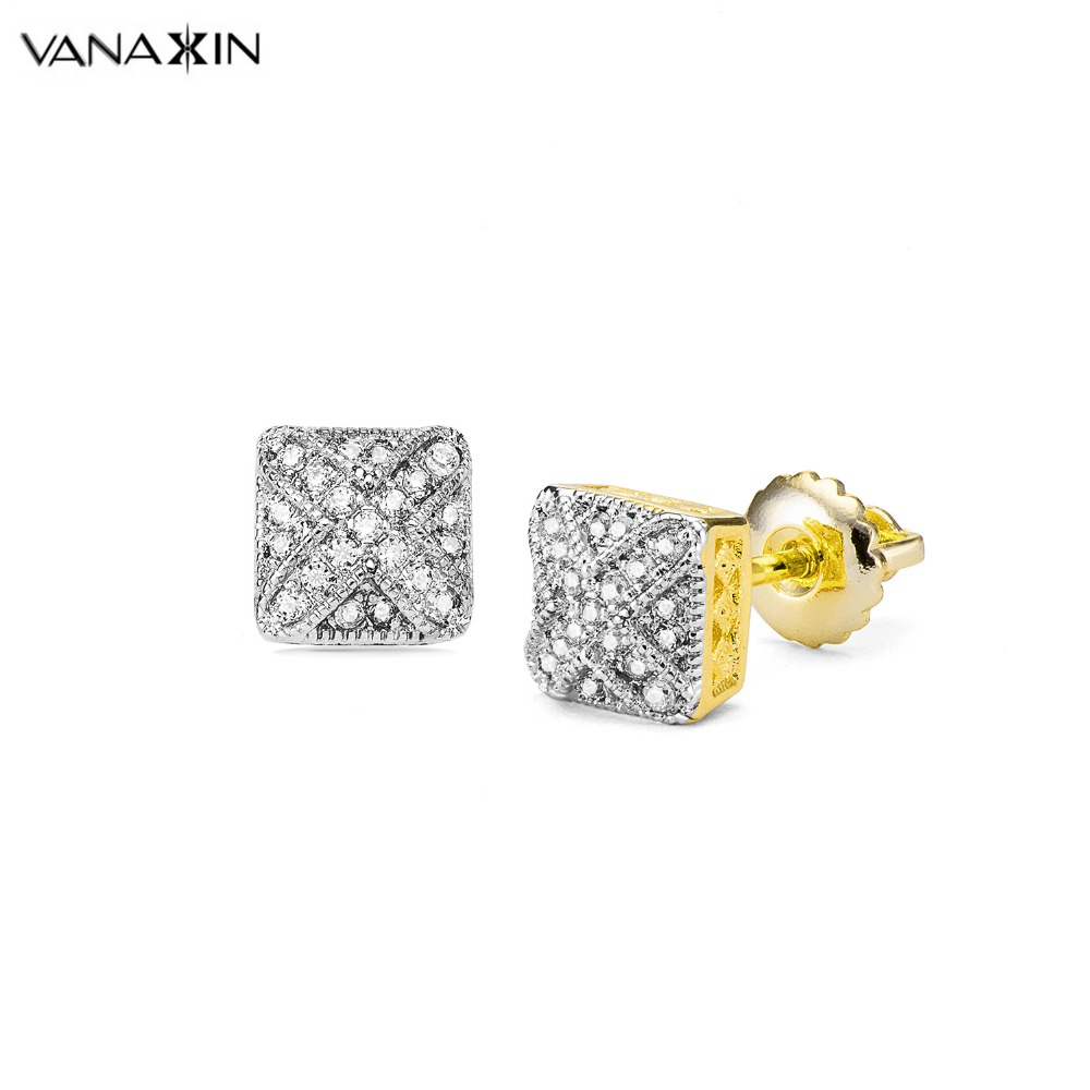 VANAXIN Square Statement Stud Earrings Women Cubic Zirconia Gold/Silver Color Punk Men Earings Fashion Jewelry Brinco Gift Box