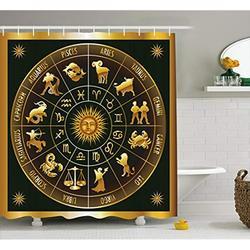 Vixm Astrologia Tenda Della Doccia Ruota Dello Zodiaco Astrologia Segni in Cerchio con il Sole Luna Immagine in Cerchio Vasca Da Bagno In Tessuto Tende