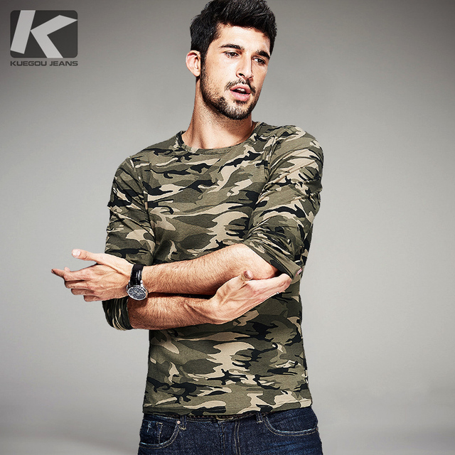 New Autumn Mens Casual T Shirts Camouflage Famous Brand Clothing Long Sleeve Army Green Man's Slim Fit T-Shirts Tops Tees