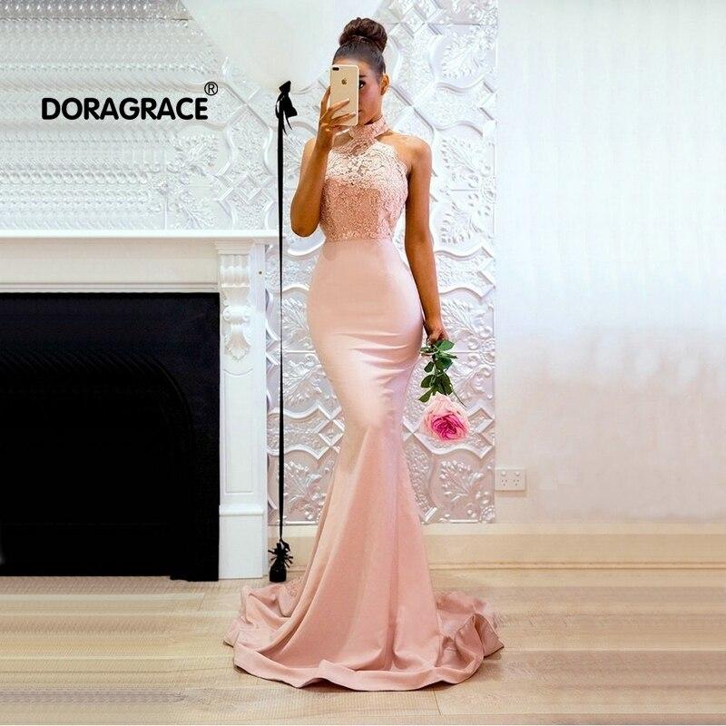 Doragrace haute qualité 3D Applique dentelle robe de bal Sexy dos nu sirène rose robes de soirée