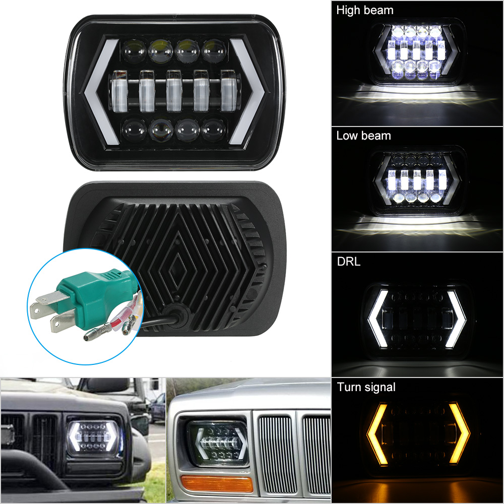 7x6 inch 5x7 inch LED Headlights with Arrow Angel Eyes DRL Turning Two Beam Types Replaces for Jeep Cherokee XJ Truck suunto arrow 6