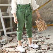 Fashion Teenage Girls Ankle-length Pants Casual Children Sports Korean High Waist Trousers for Toddler Baby Drawstring