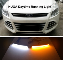 ECAHAYAKU Car Flashing led Daytime Running Light drl daylight for Ford Kuga Escape 2013 2014 2015 2016 with yellow turn signal possbay car daylight daytime running lights for vw jetta mk6 typ 5g 2011 2013 pre facelift with yellow turn signal function