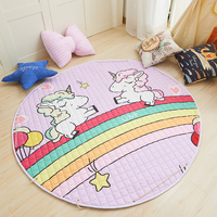 Unicorn Printed Mat Home Carpet Cat Printing Christmas Mat Childern's Play Mat Diameter 150cm Outside Carpet Office Chair Mat
