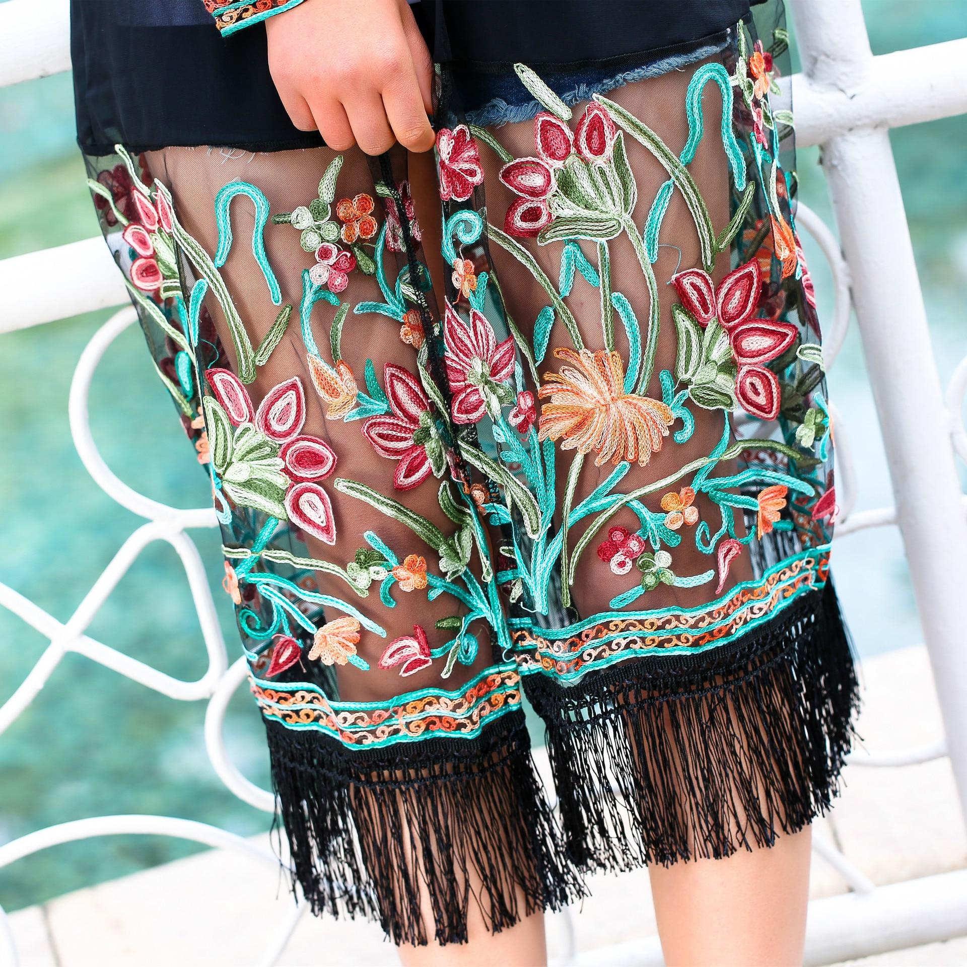 a4d9bdb47 2016 Summer long chiffon shirts Fringe Kimono women embroidery transparent  mesh blouse lady Sunscreen shirt long beach blouse-in Blouses & Shirts from  ...