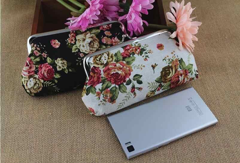 Thời trang dài in Ví 2019 Mới Gọng kim loại Retro Lớn Hoa Hồng vải bố tiền, 1 lớp tay Túi đựng điện thoại