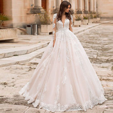 Eightree Vintage V hals A lijn Trouwjurken Strand Lange Mouwen Bridal De Mariage Elegante Kant Jassen Illusion Terug Toga