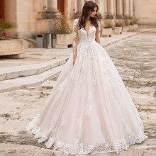 Eightree w stylu Vintage, dekolt w szpic, suknie ślubne plaży z długim rękawem dla nowożeńców De Mariage eleganckie koronkowe suknie Illusion powrót suknie