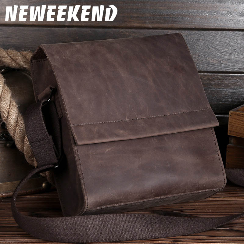 NEWEEKEND Retro Casual Genuine Leather Cowhide Crazy Horse Thin Slight Buckle Shoulder Crossbody iPad Bag for Man LS-0219NEWEEKEND Retro Casual Genuine Leather Cowhide Crazy Horse Thin Slight Buckle Shoulder Crossbody iPad Bag for Man LS-0219