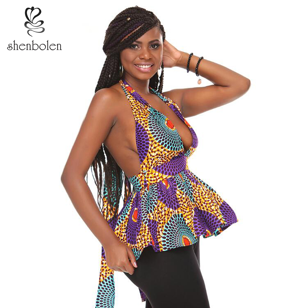 Shenbolen African Clothing For Women Sexy Ankara Sleeveless halter Top For Women Batik Pure Cotton Shirt Plus Size
