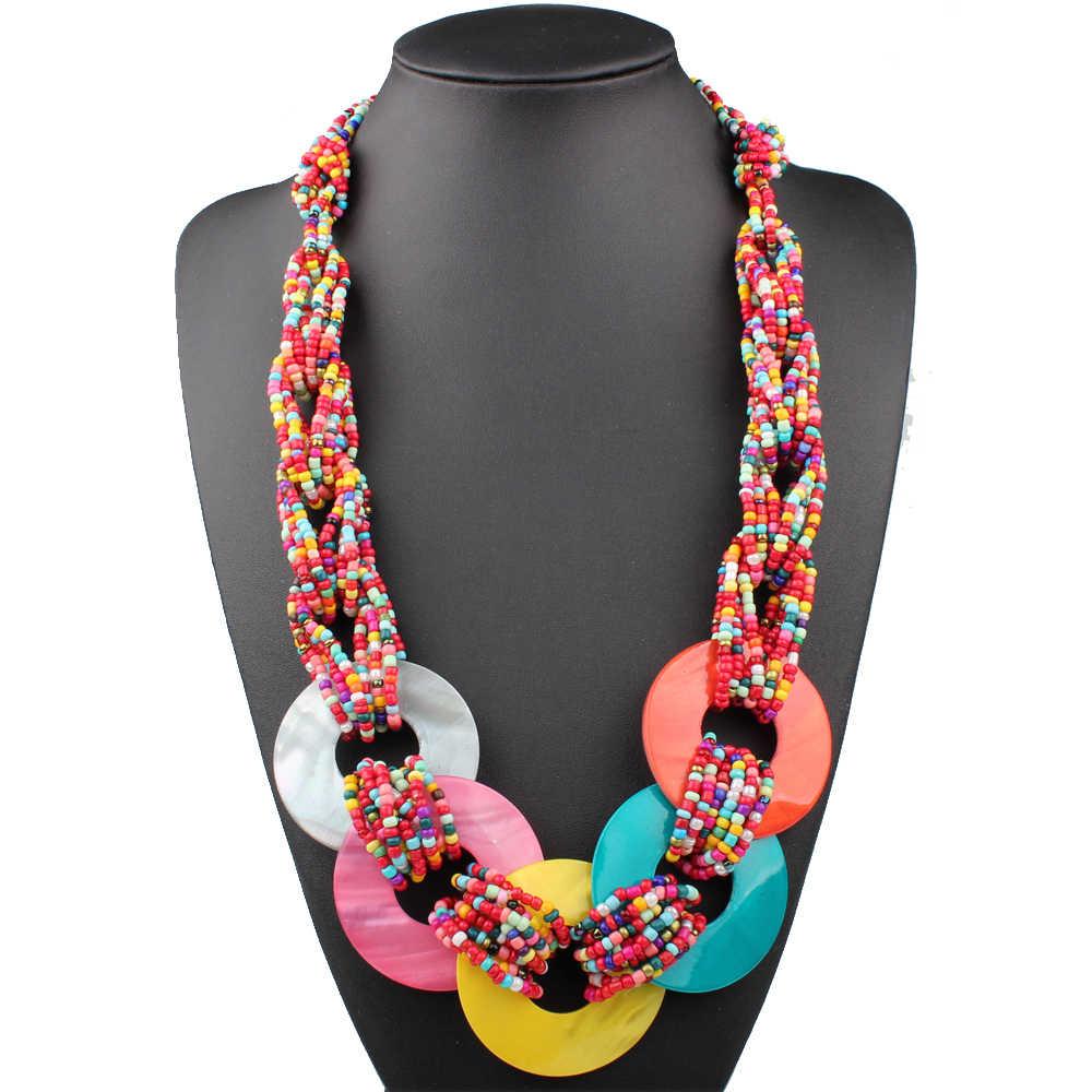 Collar de concha grande de clara Jin, Cuentas pequeñas, joyería étnica hecha a mano, collares bohemios, accesorio de moda para mujer, cadena larga de suéter