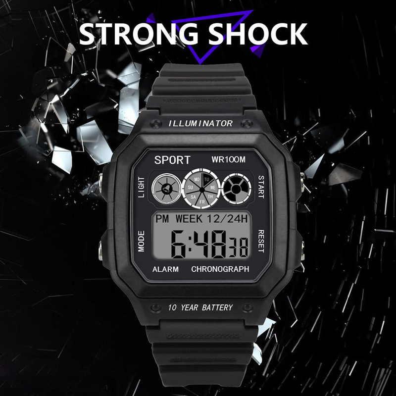 Square shape Casual Sports LED Watch Retro Digital Display Date Quartz Electronics Men Clock Wristwatch Relogio Masculino