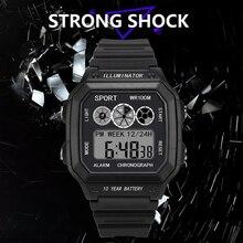 Square shape Casual Sports LED Watch Retro Digital Display Date Quartz Electronics Men Clock Wristwatch Relogio Masculino